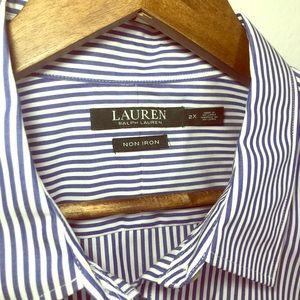 Ralph Lauren Women's Blue Striped Long slv shirt